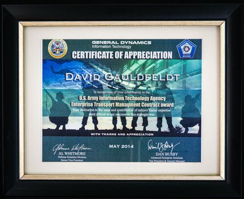 GDIT Certificate of Appreciation 2014