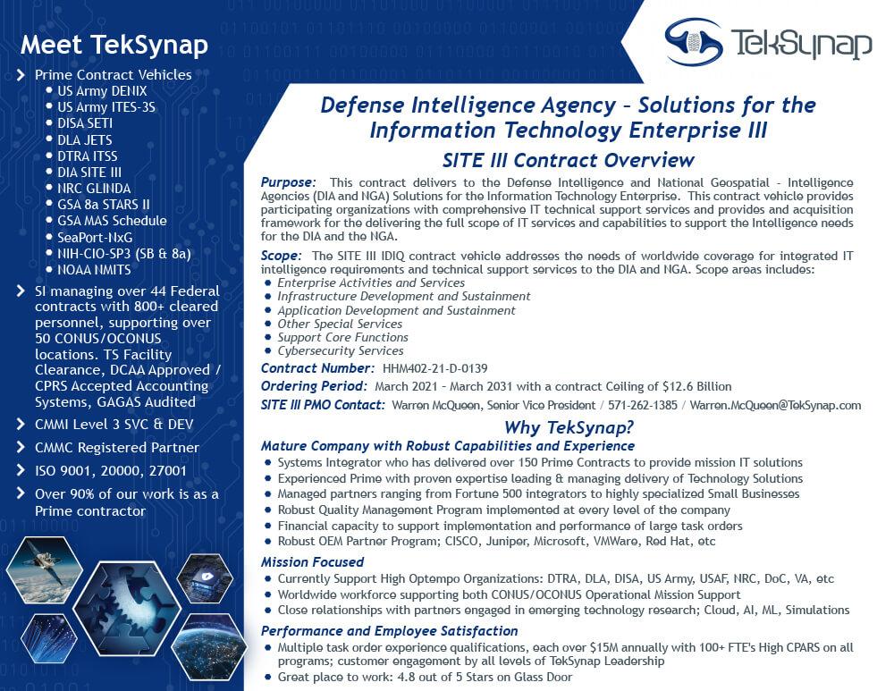 DIA SITE III Contract Information
