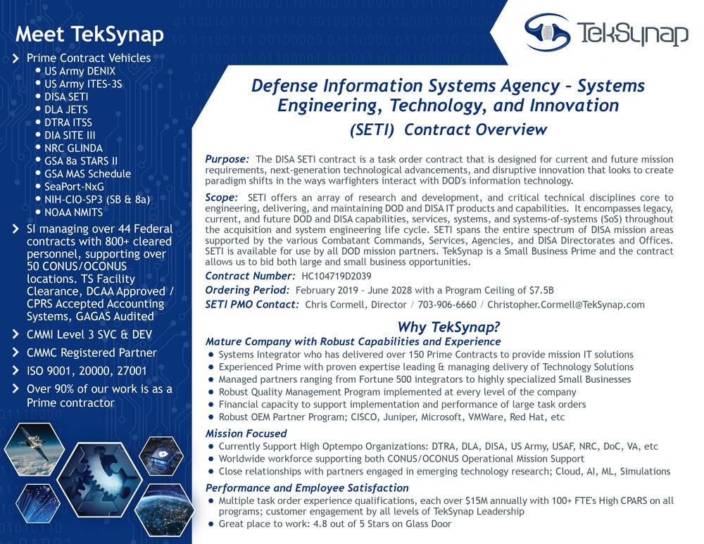 DISA SETI Contract Information